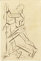 figure study after vesalius [profile with plumb-bob] by jacob lawrence